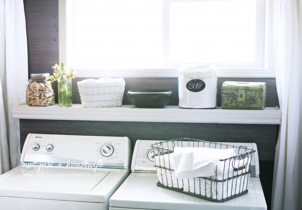 laundry room: grey planked walls