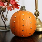 Gold Studded Pumpkin {And more 10 minute decorating ideas}