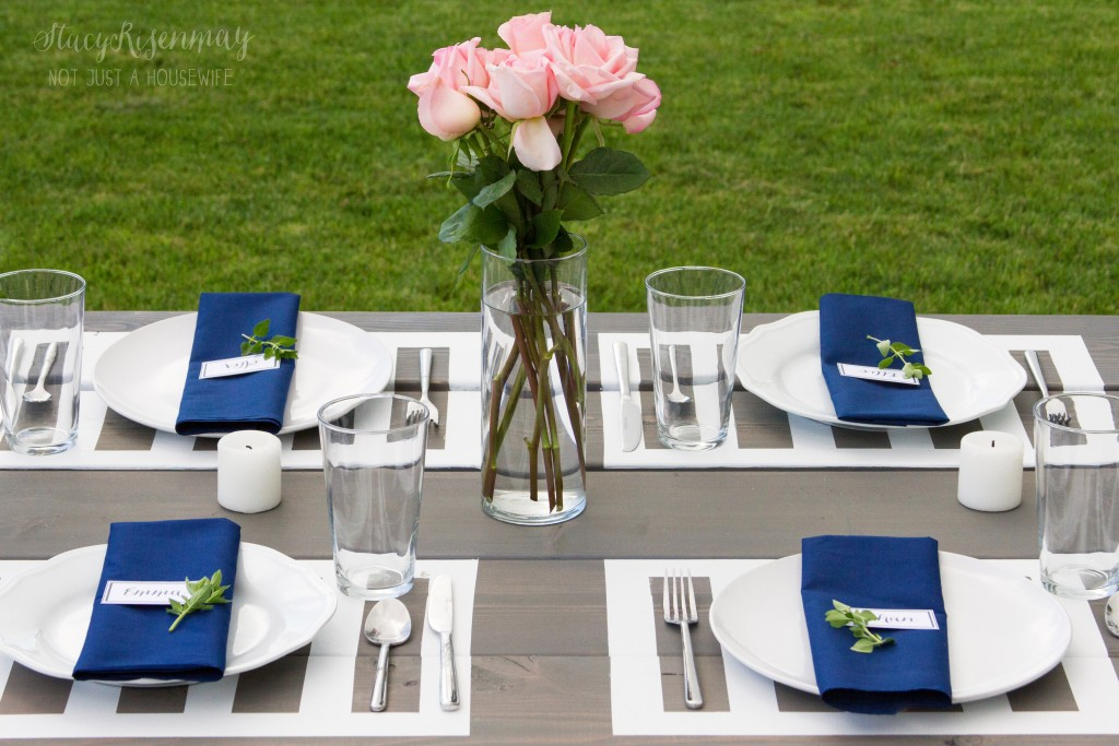 picnic table with paint placemats