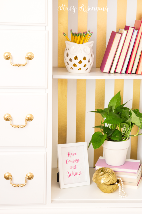 gold stripes on dresser