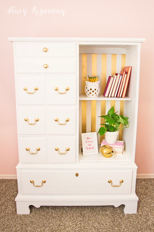 white and gold dresser