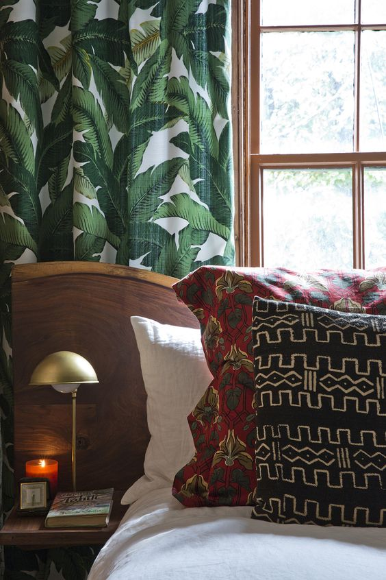 botanical curtains in bedroom