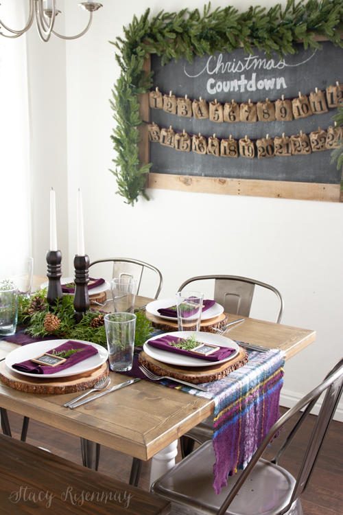 Christmas tablescape with plum accents