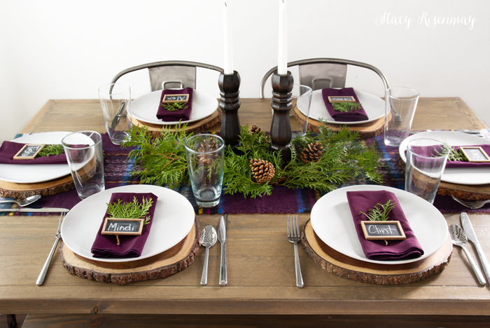 Plum Accents on tablescapes