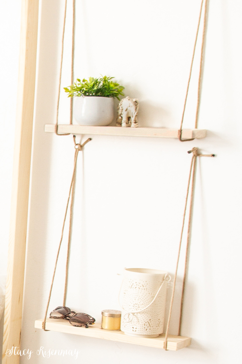 Wood and rope hanging shelves
