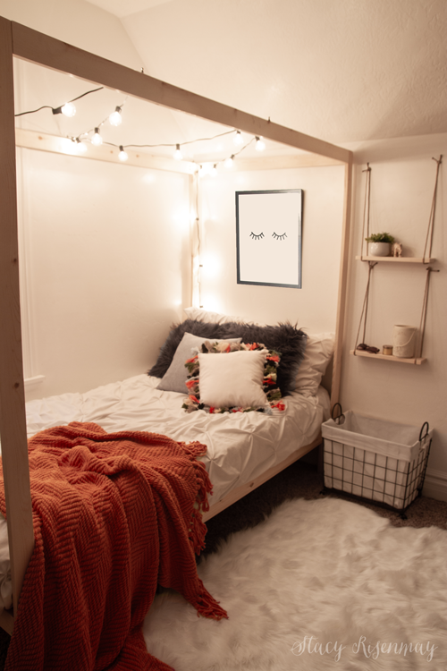 canopy bed with string lights
