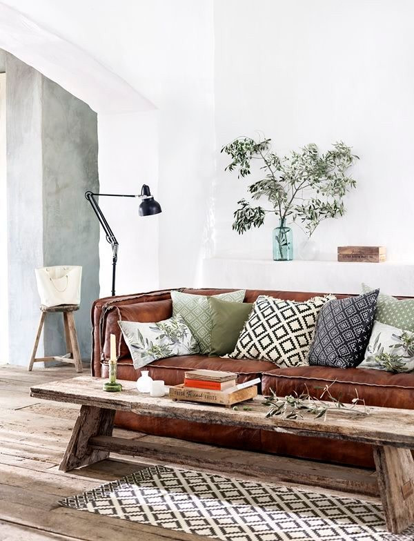 pillows on leather couch