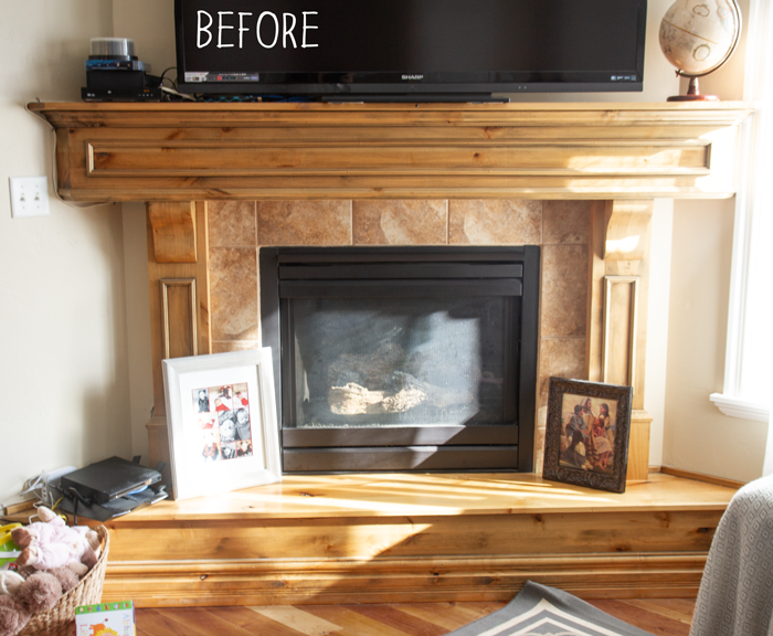 fireplace before makeover
