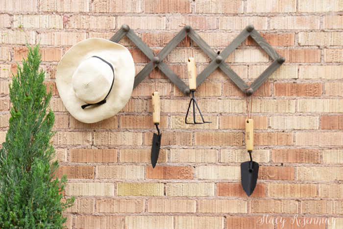 rack with hooks and hanging garden tools