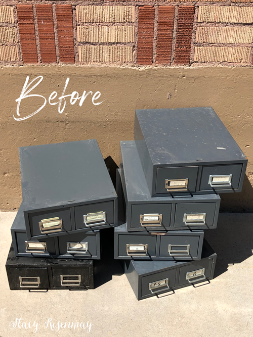old metal card catalog drawers